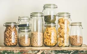 Картинка банки, орехи, макаронные изделия, крупы