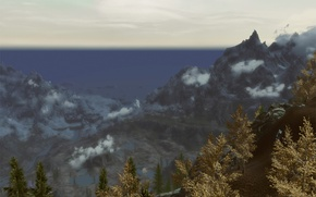 Картинка деревья, горы, skyrim, истмарк