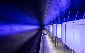 Картинка метро, станция, Германия, перрон, светильник, Гамбург