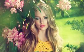Картинка лето, взгляд, девушка, цветы, макияж, Girl, блондинка, flowers