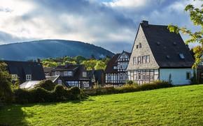 Картинка зелень, лес, лето, небо, трава, солнце, облака, деревья, горы, дома, Германия, Goslar