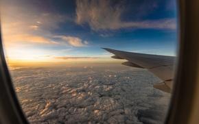 Картинка небо, солнце, облака, полет, самолет, вид, высота, крыло, иллюминатор