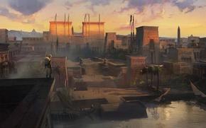 Обои город, Assassin's creed origin, ассасин, египет