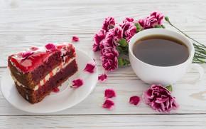 Обои цветы, кофе, букет, пирожное, крем, десерт, coffee, dessert, гвоздики, tiramisu