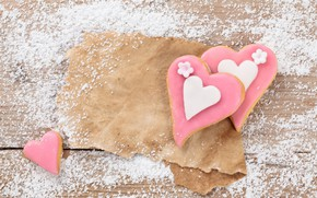 Обои праздник, выпечка, сахарная пудра, dessert, бумага, романтика, печенье, глазурь, wood, cookies, Valentine's Day, hearts, сердечки, ...