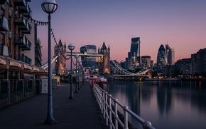 Картинка река, Англия, Лондон, башня, дома, фонарь, Темза, Тауэрский мост, набережная