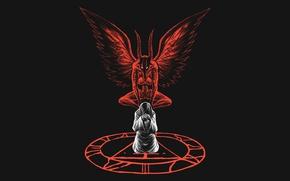 Картинка девушка, крылья, демон, арт, рога, demon, эмблема, Silent Hill, Incubus, печать Метатрона, Инкубус