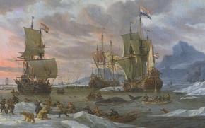 Обои парус, картина, Абрахам Сторк, масло, корабль, Китобойный Промысел, холст