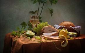 Картинка лето, вино, яблоки, хлеб, виноград, натюрморт, лоза, июнь, буженина