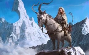 Обои снег, горы, пик, охотница, 7890m, Park Pyeongjun, вершины, Illustrator, fantasy