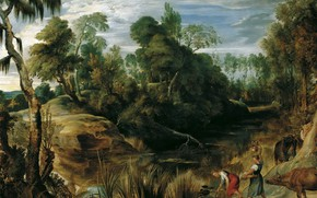 Картинка картина, Питер Пауль Рубенс, Pieter Paul Rubens, Пейзаж с Доярками и Коровами
