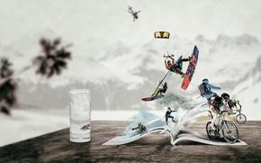 Картинка коллаж, лыжи, сёрф, велоспорт, виды спорта