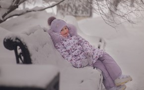 Картинка зима, снег, природа, Девочка