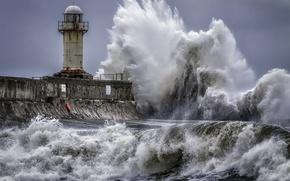 Картинка море, волна, маяк