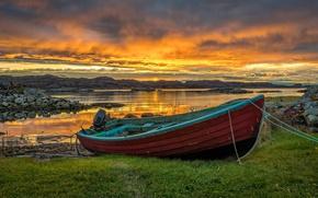 Картинка море, небо, облака, побережье, лодка, Норвегия, Norway, Rogaland, Seglheim