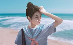 Обои девушка, школьница, море
