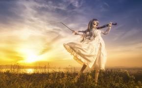Картинка закат, скрипка, кукла