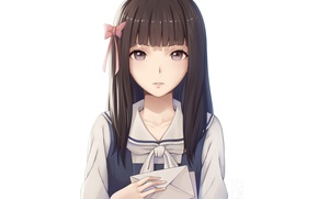 Картинка kawaii, girl, game, anime, face, brunette, asian, japanese, oriental, asiatic, visual novel, bishojo, Root Letter