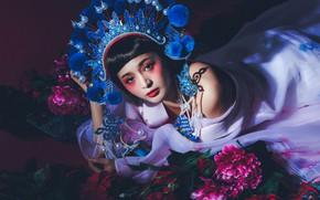 Картинка взгляд, цветы, стиль, модель, макияж, азиатка, головной убор