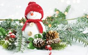 Картинка ягоды, новый год, снеговик, шишки, ветки ели