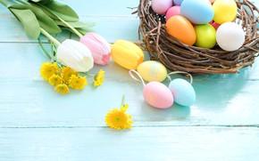 Картинка цветы, корзина, яйца, весна, colorful, Пасха, тюльпаны, wood, pink, flowers, tulips, spring, Easter, eggs, decoration, …