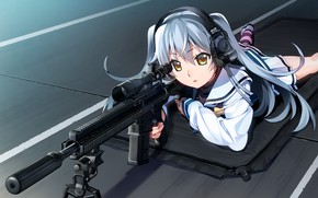 Картинка девушка, оружие, аниме, Grisaia: Phantom Trigger