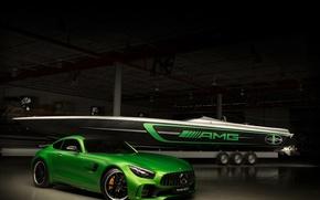 Картинка car, green, boat, Cigarette Racing, Mercedes Amg