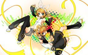 Картинка дети, аниме, арт, двое, Vocaloid, Вокалоид, персонажи