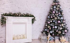 Картинка украшения, комната, игрушки, елка, Новый Год, Рождество, white, Christmas, design, wood, blue, pink, Merry Christmas, …