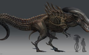 Картинка динозавр, чужой, солдат, размеры, T-Rex