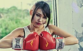Картинка взгляд, девушка, лицо, фон, волосы, боксерские перчатки