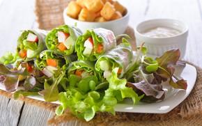 Обои зелень, соус, овощи, еда, закуска, салат
