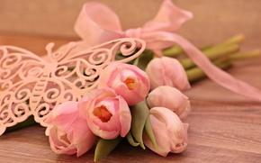 Картинка цветы, бабочка, лента, тюльпаны, фигурка