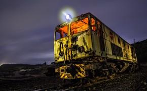 Картинка ночь, железная дорога, локомотив