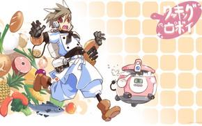 Картинка anime, food, boy, knife, seifuku, japonese, niku