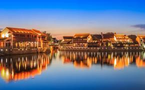 Картинка пейзаж, огни, река, дома, деревня, Китай