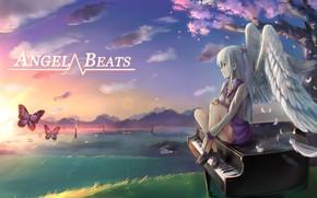Картинка девушка, арт, Angel Beats!, Ангельские ритмы