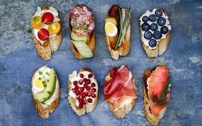 Картинка овощи, брускетта, бутерброды, ягоды, сыр, brushetta, ветчина, рыба, салями
