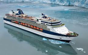 Картинка Море, Лайнер, Судно, Millennium, Пассажирский, Celebrity, Пассажирский лайнер, Ледник, Celebrity Millennium