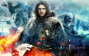 Обои fire, ice, undead, woman, man, ken, blade, dragon, A Song of Ice and Fire, evil, ...