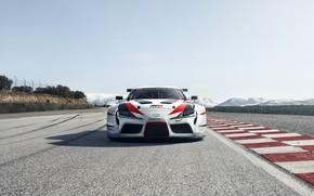 Картинка асфальт, трасса, Toyota, вид спереди, 2018, GR Supra Racing Concept
