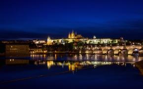 Картинка ночь, огни, река, Прага, Чехия, Влтава, Пражский Град, Собор Святого Вита