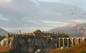 Картинка горы, мост, разрушение, крепость, Fernshire