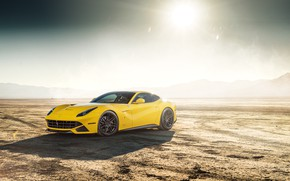 Картинка солнце, дизайн, пустыня, желтая, Ferrari F12