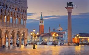 Картинка city, город, Италия, Венеция, Italy, panorama, Europe, view, Venice, cityscape, travel, Площадь Сан Марко, Sun …