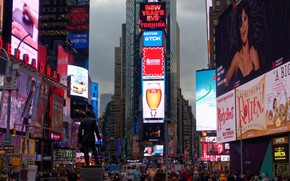 Картинка город, движение, люди, здание, New York, рекламы