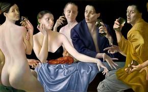 Обои Общество IV, шёлковая ткань, шедевр, Normunds Braslins, рак, Фигуративная живопись, женщины, бакалы, 2008, мужчины