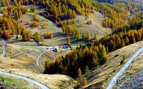 Картинка осень, деревья, горы, природа, дом, Франция, Вальберг
