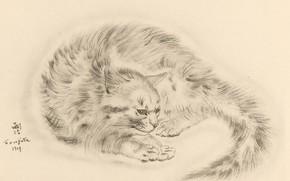 Картинка кошка, хвост, грустная, 1930, Tsuguharu Foujita, Книга Кошек