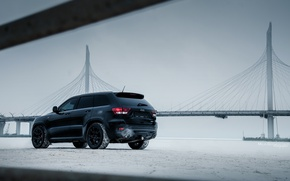 Картинка car, машина, авто, city, автомобиль, srt, cars, auto, bridge, winter, jeep, grand cherokee, jeep grand …